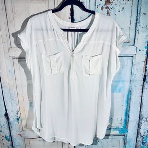 MERONA White, Short Sleeve Blouse, Sz L